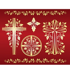 Set of ornamental crosses with holly leaves vector image