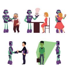 set of robot assistants helping people vector image vector image