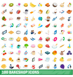 100 bakeshop icons set isometric 3d style vector