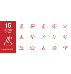 15 anniversary icons vector image