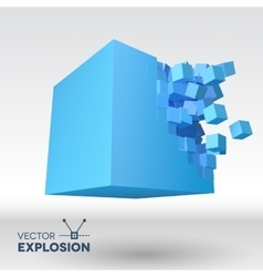 3D cube explosion with cubical particles vector