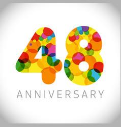 48 years anniversary circle colorful logo vector