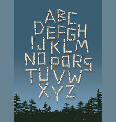 alphabet poster made birch tree log letters vector image
