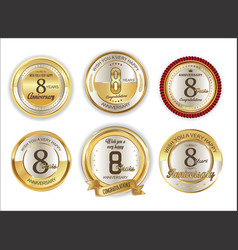 anniversary golden labels retro vintage vector image