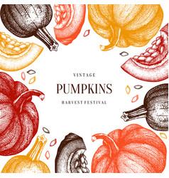 autumn frame with hand drawn pumpkins thanksgivin vector image