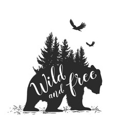 bear and fir tree vector image
