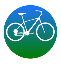 bicycle bike sign white icon in bluish vector image