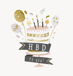 Birthday cake template sticker aesthetic gold vector