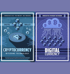 bitcoin cryptocurrency and blockchain technology vector image