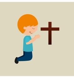 Boy kneeling bleesed bible icon vector