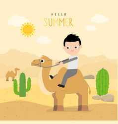 boy ride camel travel holiday summer vector image
