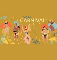 Brazilian carnival banner with cartoon characters vector