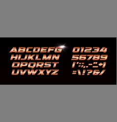 bronze letters and numbers set metal gradient vector image