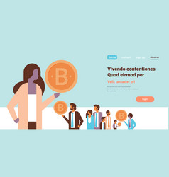 businesswoman hand hold bitcoin crypto currency vector image