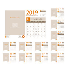 Calendar template design 2019 vector