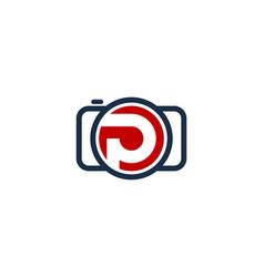 camera letter p logo icon design vector image