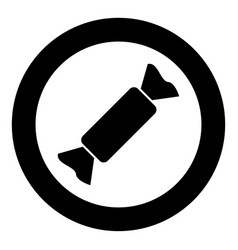 candy icon black color in circle vector image