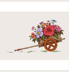 Cartoon garden wheelbarrow with flowers gardening vector