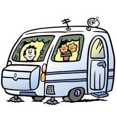 Cartoon of a boy in the caravan ready for the vector