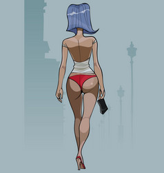 cartoon woman with blue hair walking in beach vector image