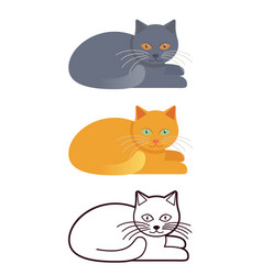 cat in flat design and linear vector image