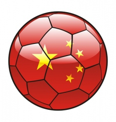 China flag on soccer ball vector