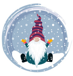 Christmas card with gnome vector