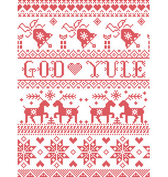Christmas pattern norwegian god yule vector