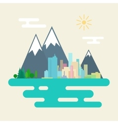 City and the Forest Against Mountains vector
