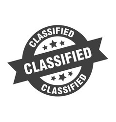Classified sign classified black round ribbon vector