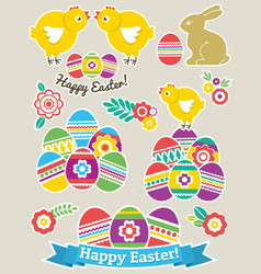 Color easter stickers with eggs rabbit and vector