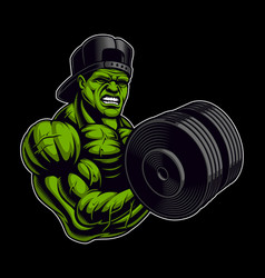 Coloured of a bodybuilder with dumbbell vector