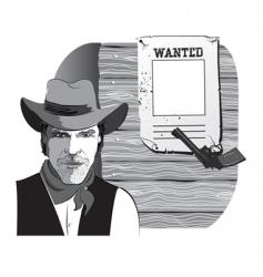 cowboy wanted vector image