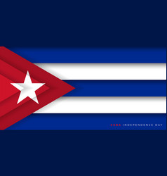 Cuba paper cut flag design independence day vector