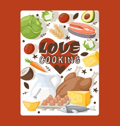 Culinary book cover love vector