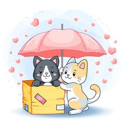 cute lovely kittens under a pink umbrella vector image
