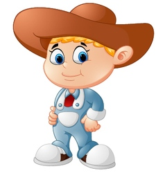 Cute young cowboy vector