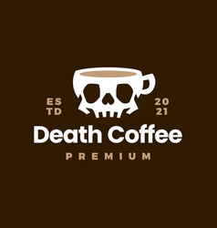death coffee skull cup drink logo icon vector image