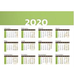 desk calendar for year 2020 in green design vector image