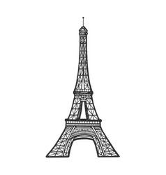 Eiffel tower sketch engraving vector