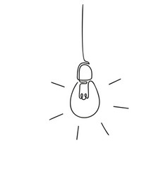 electric light bulb continuous one line drawing vector image