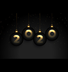 elegant 2020 black premium new year wallpaper vector image