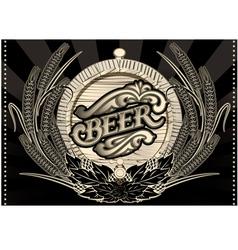 Emblem beer barrel and barley for the menu vector