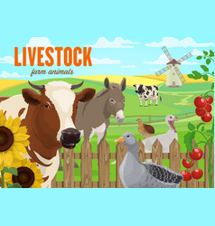 farm animals cattle and poultry vector image