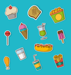 fast food icon set design vector image