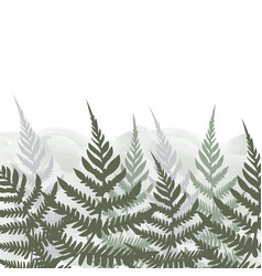 Fern frond tropical forest background leaves vector