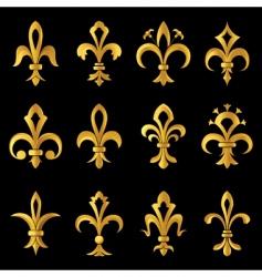 Fleur-de-lis golden set vector