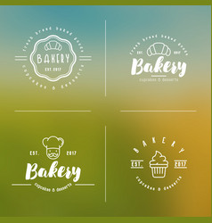 four styles of bakery logo with thin line icons vector image