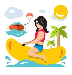 girl ride a banana boat flat style vector image