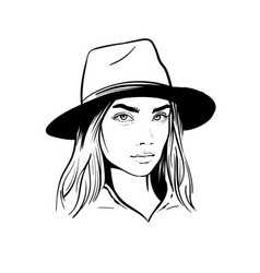 girl with hat black and white vector image